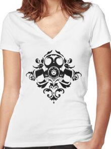 Gas Damask Women's Fitted V-Neck T-Shirt