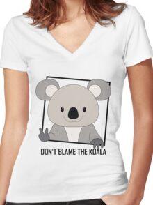 DON'T BLAME THE KOALA Women's Fitted V-Neck T-Shirt