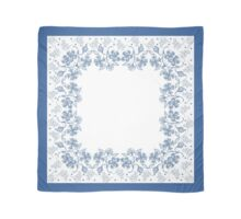 Indigo on White Floral Border Scarf