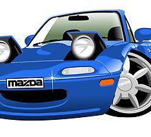 Mazda MX-5 / Miata caricature blue by car2oonz