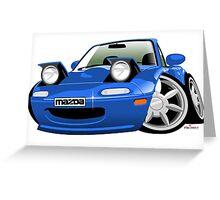 Mazda MX-5 / Miata caricature blue Greeting Card
