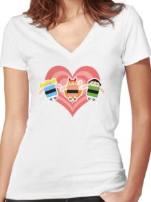 Droidarmy: The Powerpuff Droids Women's Fitted V-Neck T-Shirt