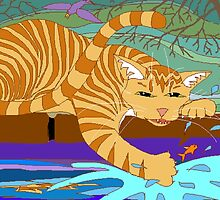 Cat Fishing Sort Of by Jean Gregory  Evans