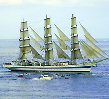 "Tall Ship ""Mir"" off Falmouth, Cornwall,UK by diamondphoto"