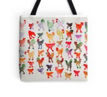 Tie Dye Chickens in Lines #1 Tote Bag