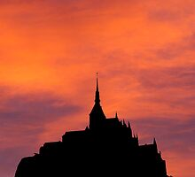 Mont-Saint-Michel silhouette, France by buttonpresser