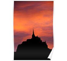 Mont-Saint-Michel silhouette, France Poster