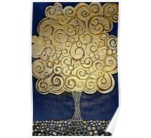 The Golden Tree -Woodcut Digital Print Poster
