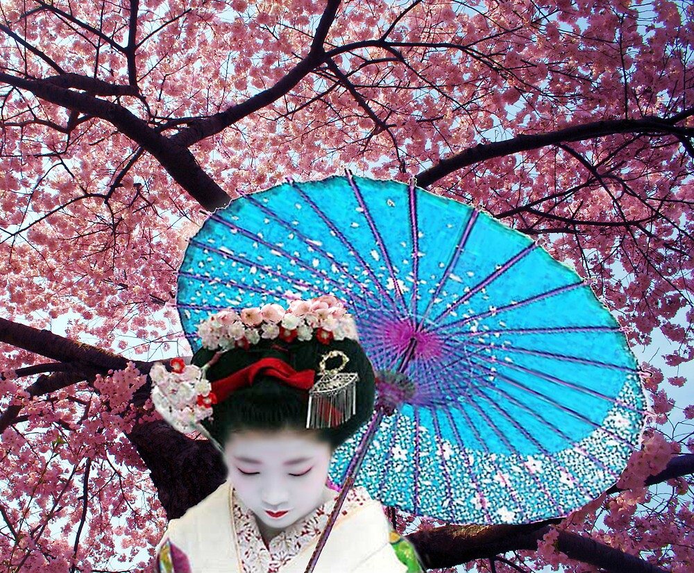 The Geisha and the Cherry blossom by Bill Brouard