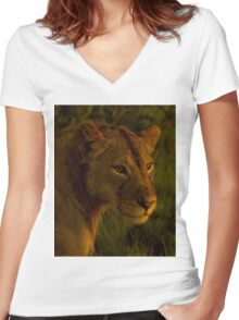 Lioness     #6947 Women's Fitted V-Neck T-Shirt
