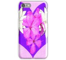 Purple Heart with Pink and White Flowers iPhone Case/Skin