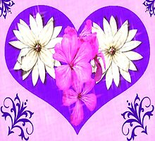 Purple Heart with Pink and White Flowers by Judy Skowron