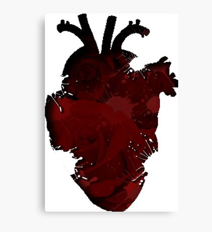 Rose Splatter Heart Canvas Print