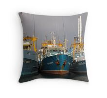 Fishing Boat Harbour Throw Pillow