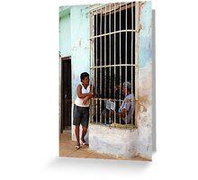 Couple chatting, Trinidad, Cuba Greeting Card