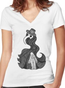 The Plague Doctor Women's Fitted V-Neck T-Shirt