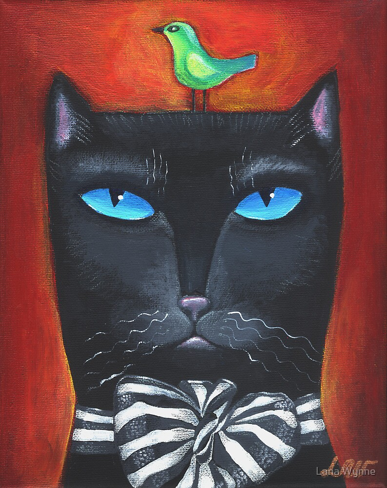 """Bow Cat"" - Original Folk Art Painting  by Lana Wynne"