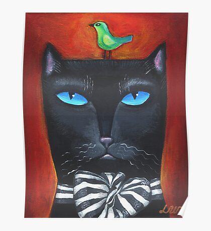 """Bow Cat"" - Original Folk Art Painting  Poster"