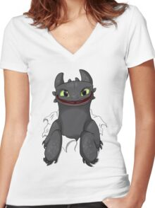 Curious Toothless Women's Fitted V-Neck T-Shirt