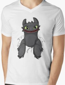 Curious Toothless Mens V-Neck T-Shirt