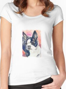 Boston Terrier Watercolor Women's Fitted Scoop T-Shirt