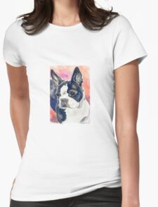 Boston Terrier Watercolor Womens Fitted T-Shirt