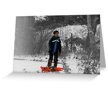 Grey-scale blue boy in white snow.  Greeting Card