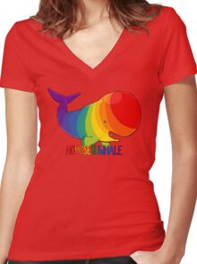 Homosexuwhale - with text Women's Fitted V-Neck T-Shirt