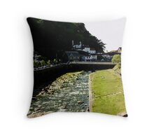 East & West Lyn Rivers Converge in Lynmouth Throw Pillow