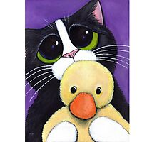 Scared Tuxedo Cat with Toy Duck Photographic Print
