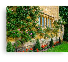 Climbing Roses, Flowers & Architecture. Canvas Print