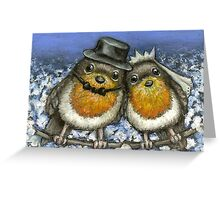 Two robins getting married in cherry blossom Greeting Card
