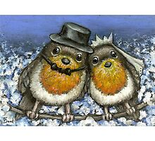 Two robins getting married in cherry blossom Photographic Print