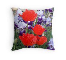 Iris' and Poppies Throw Pillow