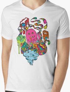 Pop Monster Color Mens V-Neck T-Shirt