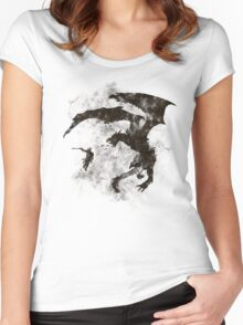 Dragonfight-cooltexture B&W Women's Fitted Scoop T-Shirt