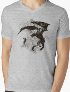 Dragonfight-cooltexture B&W Mens V-Neck T-Shirt