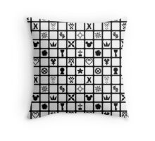 Kingdom Hearts Grid (Clear) Throw Pillow