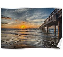 Gulf Sunrise by Pier Poster