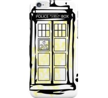 yellow splash tardis iPhone Case/Skin