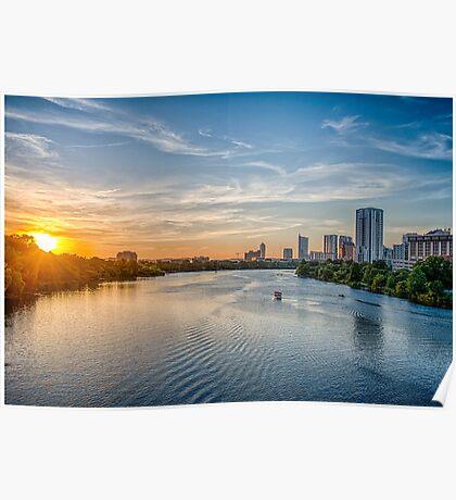 Sunset over Ladybird Lake Austin Poster