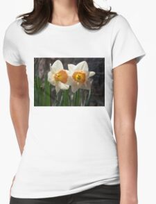 In Conversation - a Couple of Daffodils Huddled Together Womens Fitted T-Shirt
