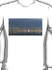 A Break in the Clouds - Gray Sky, White Yachts T-Shirt