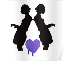 Black Silhouettes with Heart Poster