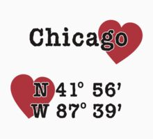 Chicago with GPS Coordinates Kids Tee