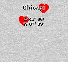 Chicago with GPS Coordinates Unisex T-Shirt