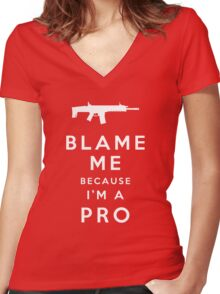 Blame me!! Women's Fitted V-Neck T-Shirt