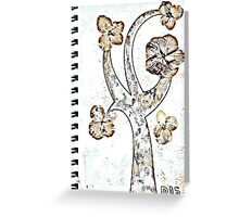 Golden flowers blooming tree Greeting Card