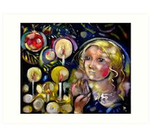 Women with Candles on Christmas Tree Art Print