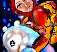 Girl with white bear by mikejohnson